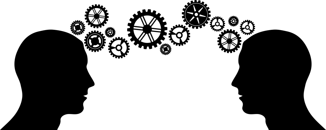 Black silhouette of man head with some gears